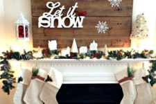 19 LET IT SNOW mantel with small stockings