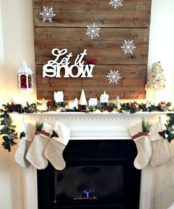LET IT SNOW mantel with small stockings