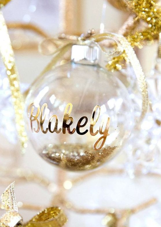 glitter filled ornament with a name