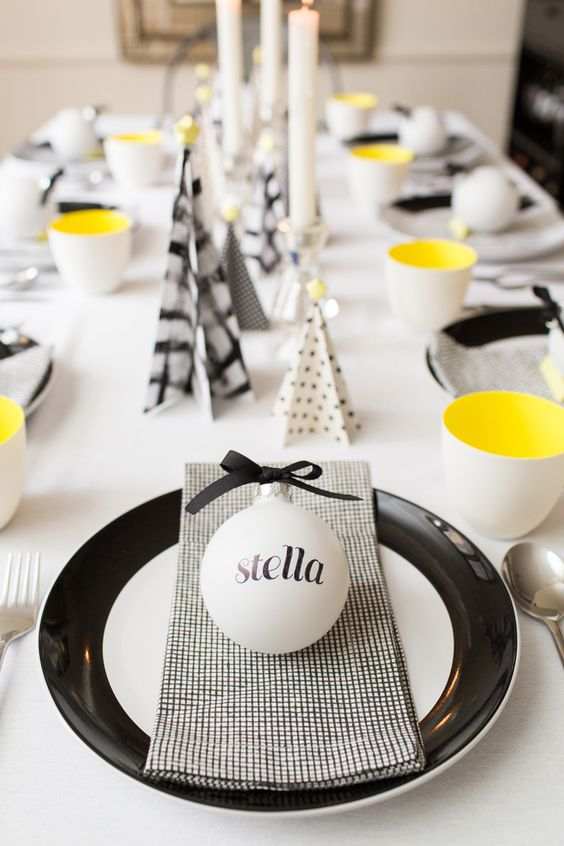 modern graphic holiday tablescape in black, white and yellow