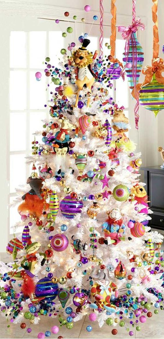 playful Christmas tree in cheerful shades for a kid's room