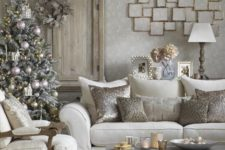 20 a snowy Christmas tree decorated in silver and gold for a refined room