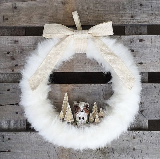 faux fur wreath with a house and trees
