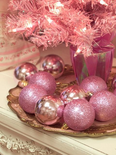 glitter hot pink ornaments to complete a pink tree