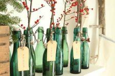 20 holly berries in bottles for mantel display