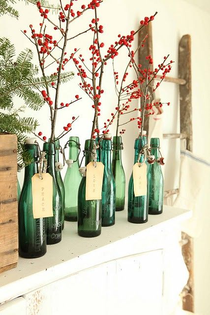 22 simple holly berry christmas d cor ideas shelterness for Mantel display ideas