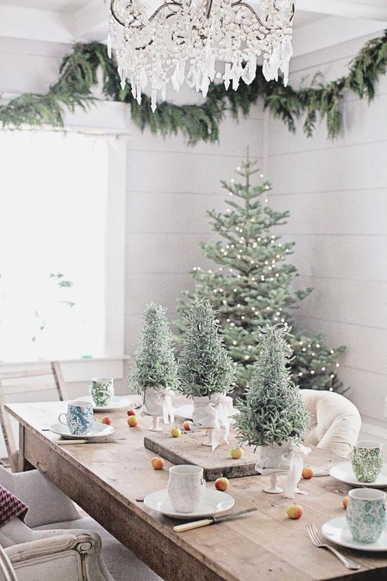 modern tablescape with tree-shaped greenery and fruit