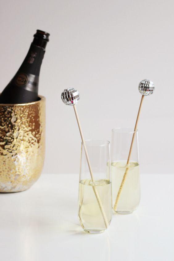 silver disco ball drink stirrers