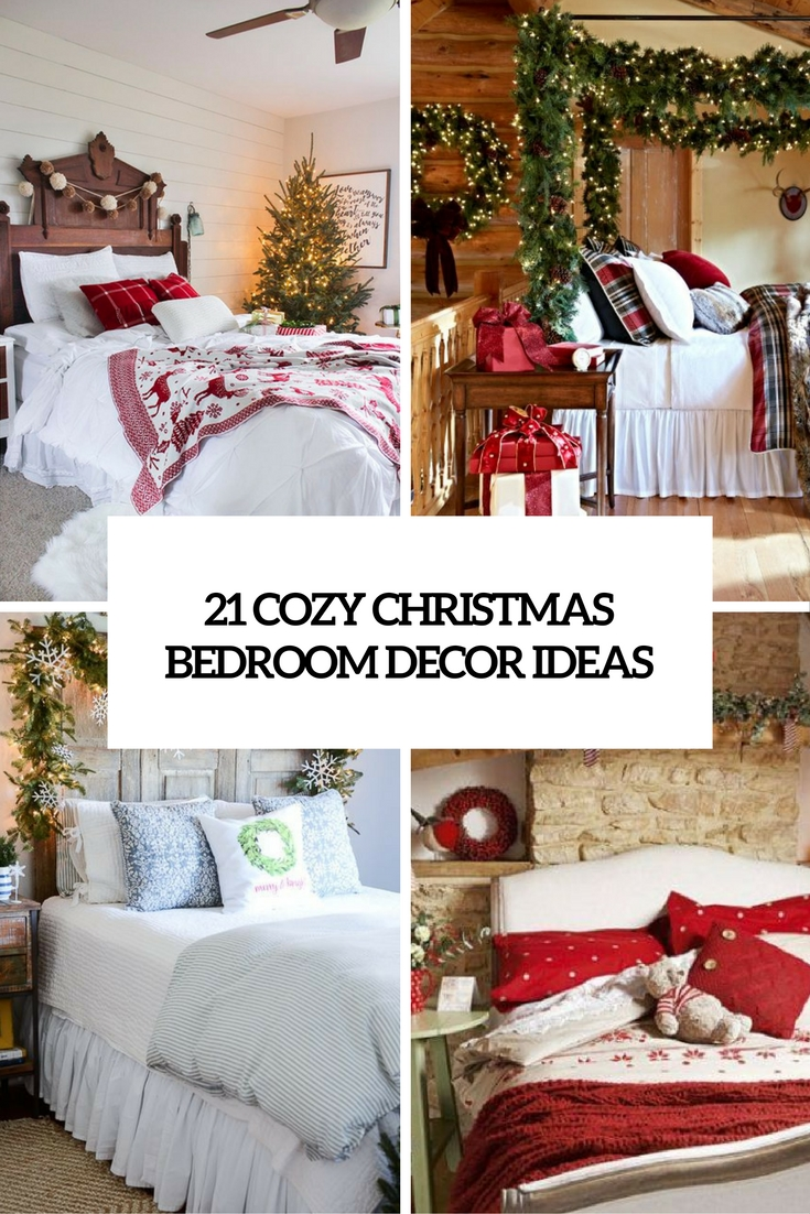 21 cozy christmas bedroom dcor ideas - Christmas Bedroom Decor Ideas