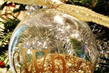 21 monogrammed ornament filled with glitter