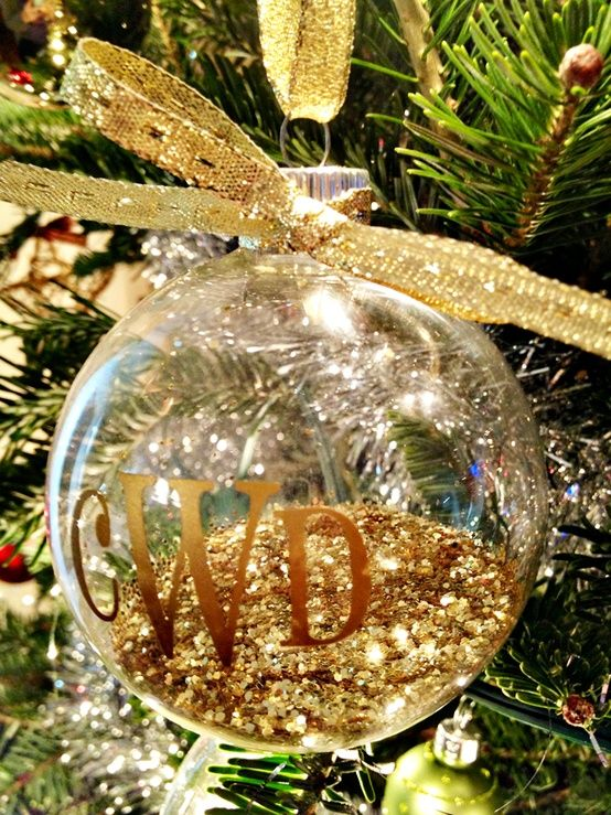 monogrammed ornament filled with glitter