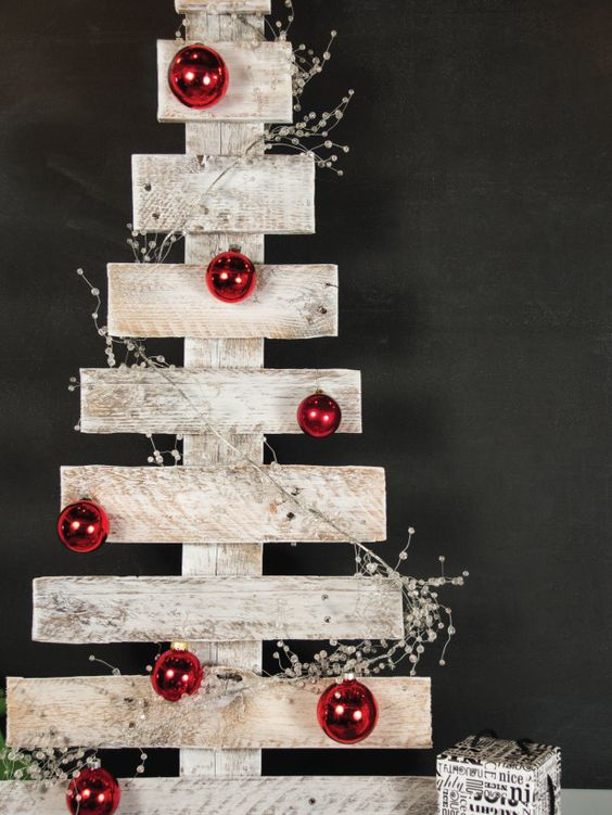 whitewashed christmas tree with contrasting red ornaments