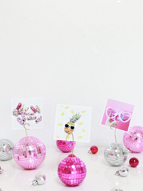 colorful disco ball photo holders