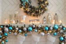 22 fir and ornament garland and wreath, white stockings