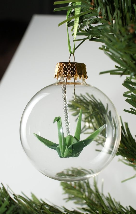 origami filled ornament