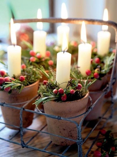 vintage terra cotta pots, greenery, berries and candles