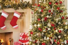 23 bold red, white and gold Christmas tree and mantel decor