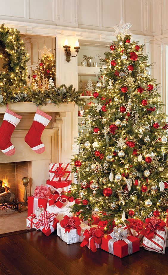 bold red, white and gold Christmas tree and mantel decor