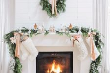 23 evergreen and foliage garland and wreath with elegant nude bows