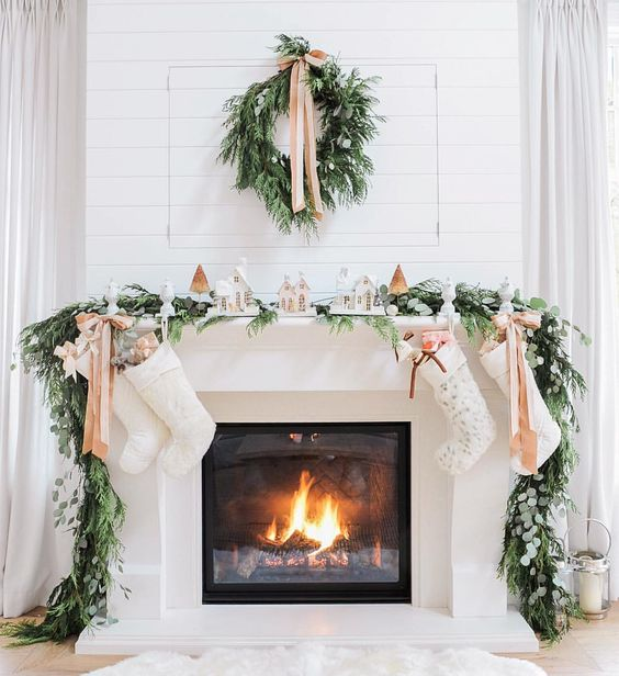 evergreen and foliage garland and wreath with elegant nude bows