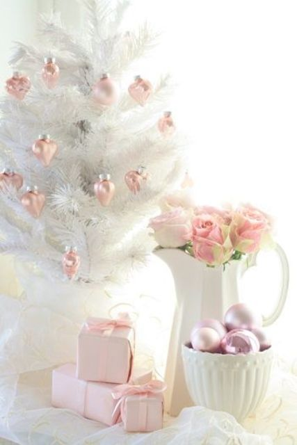 pastel pink ornaments and gift wrappings