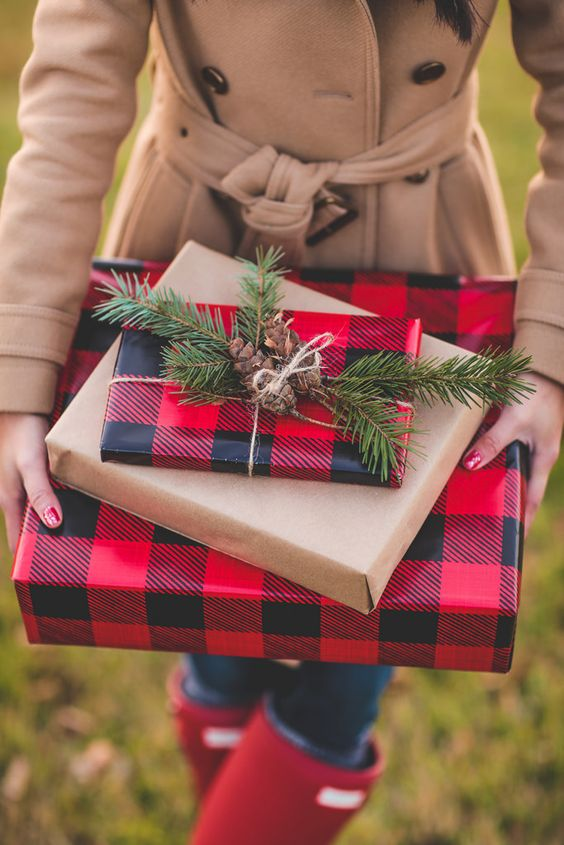 plaid wrapping paper, pinecones and fir twigs