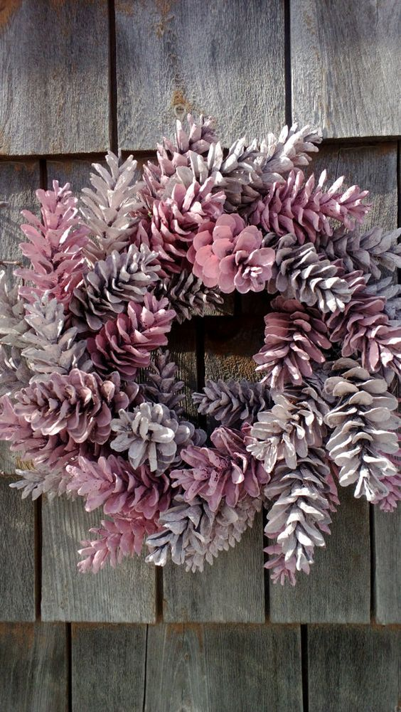 cover your pinecone wreath in pink shades to add some glam