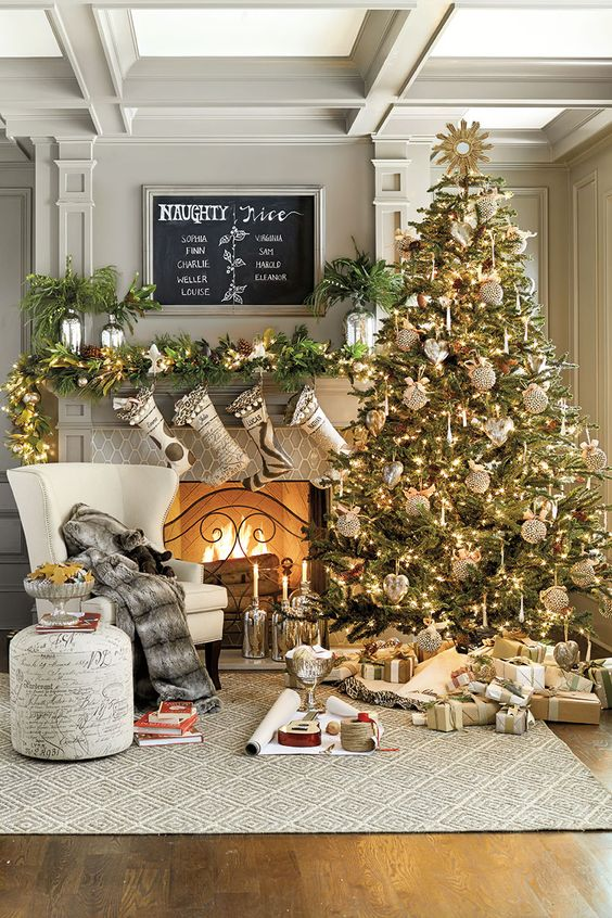 40 cozy christmas living room d cor ideas shelterness Large decorated christmas trees