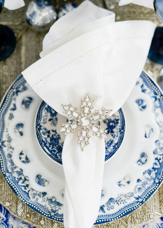 rhinestone snowflake napkin ring for a sparkling touch