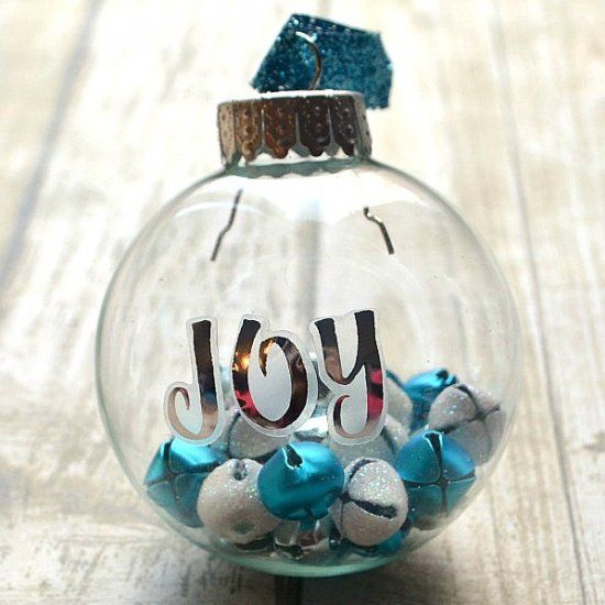 silver and blue jingle bell ornaments with sticker letters