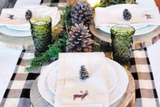 25 wood slices can be used as placemats and pinecones as card holders