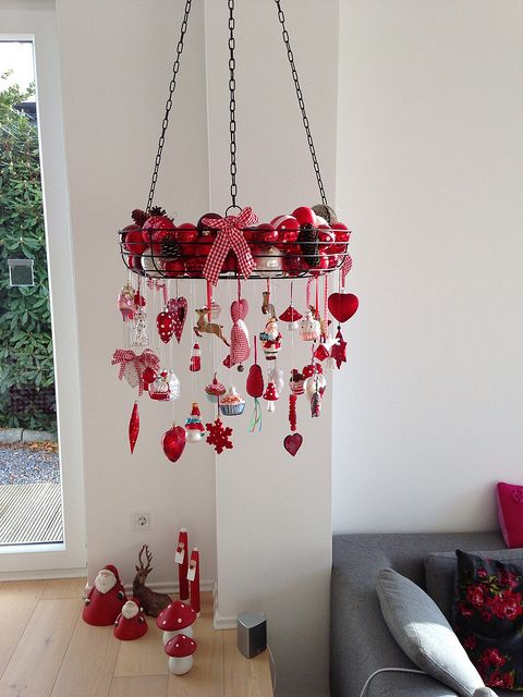 a vintage wire hanging with ornaments