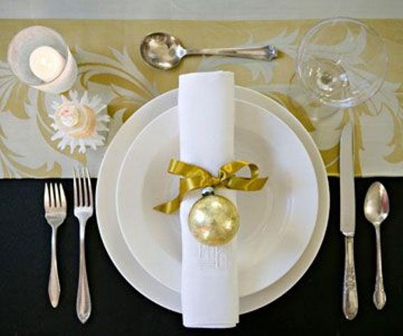 ribbon and an onrament napkin ring