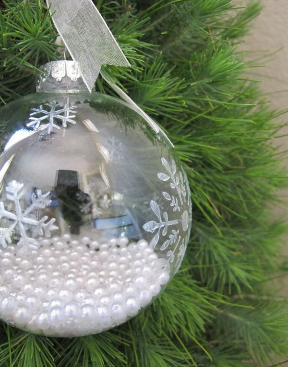 snowflake ornament filled with glass beads
