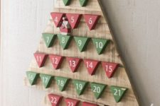 27 red and green triangle pallet advent tree