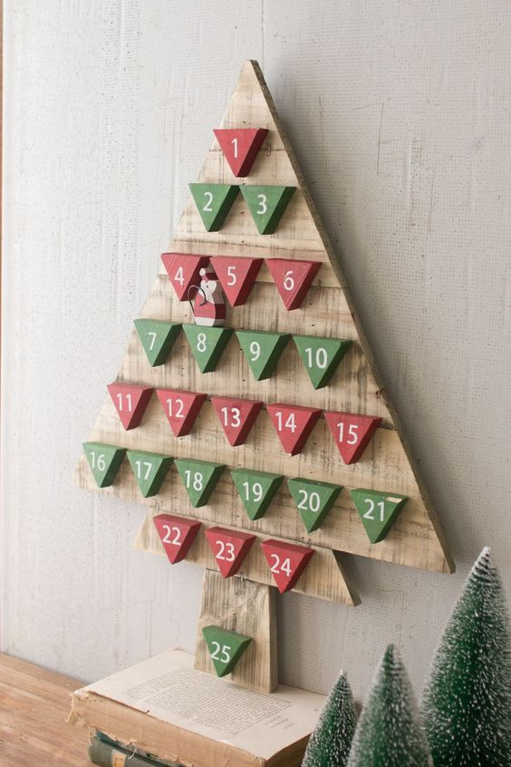 red and green triangle pallet advent tree