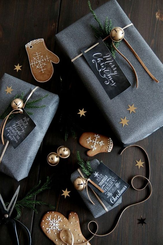 silver grey paper, gold stars, jingle bells and chalkboard gift tags