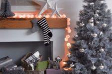 27 stylish modern grey tree with silver ornaments
