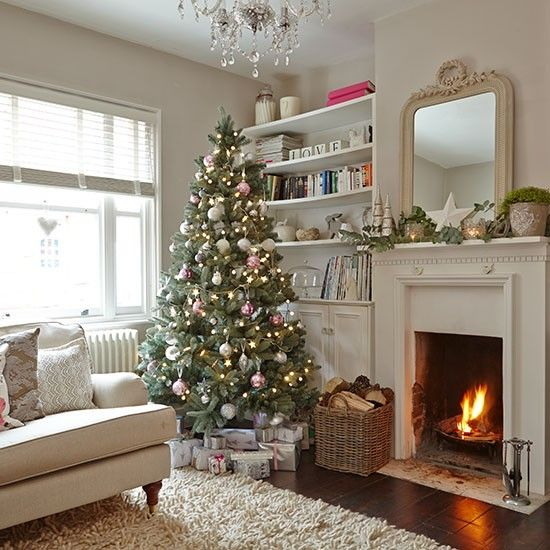 neutral fir tree with silver and red ornaments - Christmas Room Decor