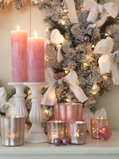 pink candles and candle holders for Christmas