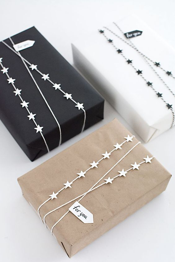 stylish gift wrapping with IKEA star garlands