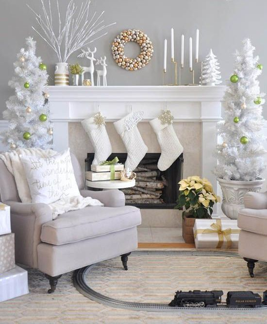 white tree in urns with bold ornaments for a chic frosted look