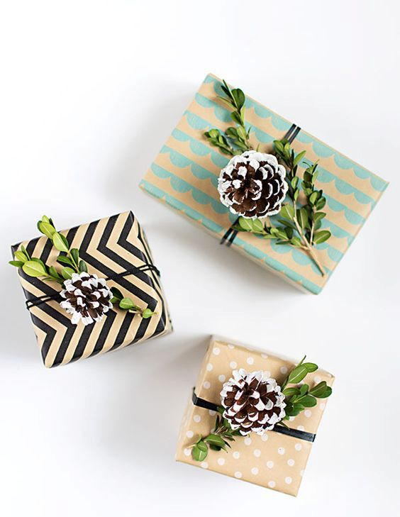 boxwood and snowy pinecones gift toppers