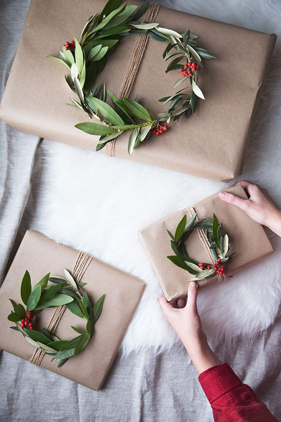 fresh greenery and berry wreaths for beautiful gift toppers
