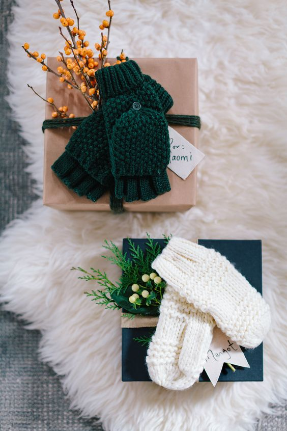 knit mittens and fresh sprigs look very creative