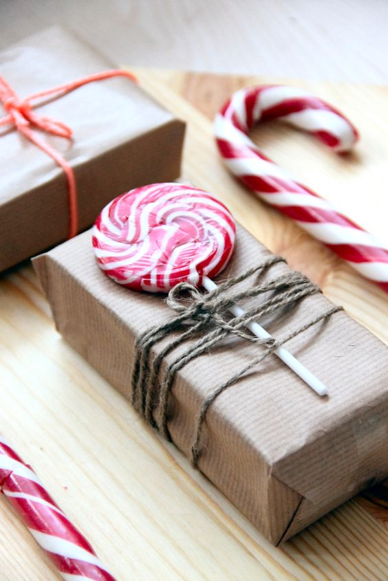 peppermint Christmas lollipops and candy canes will spruce up any wrapping