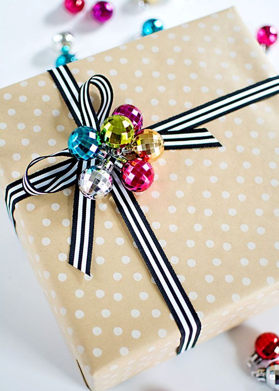 tiny disco ball ornament cluster make a cool gift topper