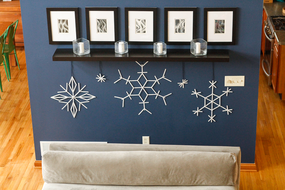 DIY snowflakes from popsicle sticks