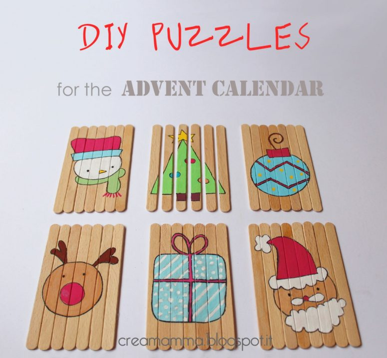 DIY Christmas puzzles of popsicle sticks (via creamamma.blogspot.ru)