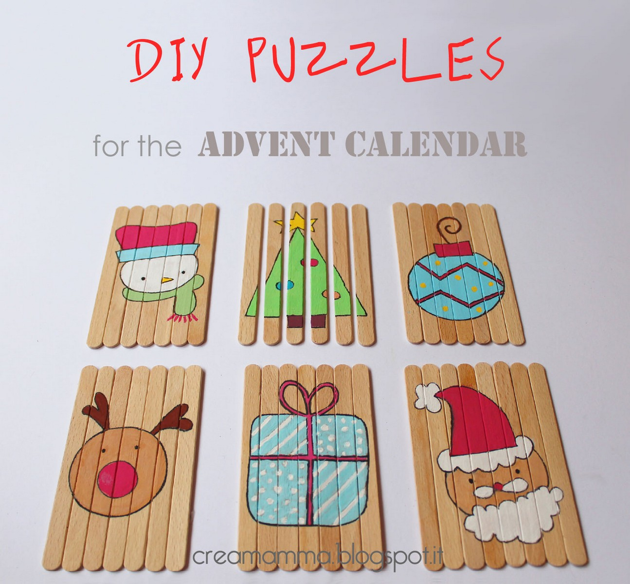 DIY Christmas puzzles of popsicle sticks